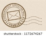 postmark. round brown stamp on... | Shutterstock . vector #1172674267