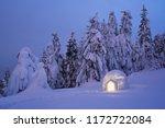 snow igloo. mountain hiking in... | Shutterstock . vector #1172722084