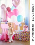 baby girl with cake and ballons ... | Shutterstock . vector #1172750014
