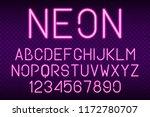 neon font  glowing light... | Shutterstock .eps vector #1172780707