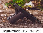 colt 45, 1911  discharged, semi-automatic military pistol.classic pistol. close-u