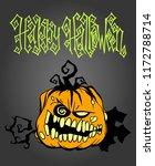 hand drawn halloween pumpkin... | Shutterstock .eps vector #1172788714