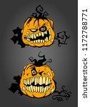 smiling pumpkins  hand drawn... | Shutterstock .eps vector #1172788771