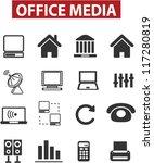 office   media icons set  vector   Shutterstock .eps vector #117280819