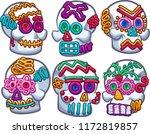 mexican sugar skulls. vector... | Shutterstock .eps vector #1172819857