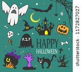 happy halloween lettering for... | Shutterstock .eps vector #1172827027