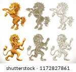 Stock vector horse anb lion d and engraving styles vector illustration 1172827861