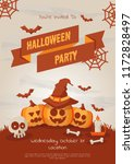 happy halloween party poster... | Shutterstock .eps vector #1172828497