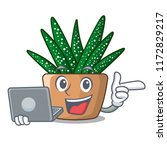 with laptop mini zebra cactus... | Shutterstock .eps vector #1172829217