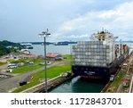 container ship exiting gatun... | Shutterstock . vector #1172843701