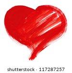 Red Big Heart Shape. Watercolo...