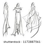 sketch. beautiful fashion girl. ... | Shutterstock .eps vector #1172887561