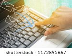 hand push enter on laptop to... | Shutterstock . vector #1172895667