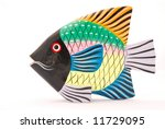 A Colorful Tropical Wooden Fis...