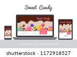flat tasty candies concept with ... | Shutterstock .eps vector #1172918527