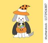 cartoon cute halloween witch... | Shutterstock .eps vector #1172926387