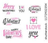 happy valentine's day set. hand ... | Shutterstock . vector #1172932354