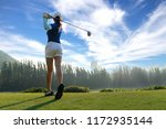 asian woman golf player doing... | Shutterstock . vector #1172935144