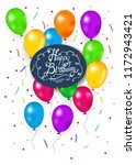 birthday card 3d balloons ... | Shutterstock .eps vector #1172943421