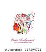 colorful native american head   Shutterstock .eps vector #117294721
