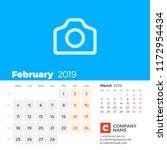 february 2019. calendar for...   Shutterstock .eps vector #1172954434