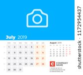 july 2019. calendar for 2019...   Shutterstock .eps vector #1172954437