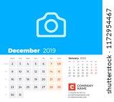 december 2019. calendar for...   Shutterstock .eps vector #1172954467