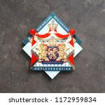 Small photo of Pijnacker, the Netherlands. September 2018. A shield that indicates a purveyor to the Royal Court of the Netherlands (Dutch: hofleverancier).