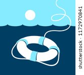 ring lifebuoy and sea. vector... | Shutterstock .eps vector #1172970841