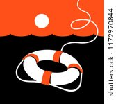 ring lifebuoy and sea. vector... | Shutterstock .eps vector #1172970844