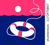 ring lifebuoy and sea. vector... | Shutterstock .eps vector #1172970847