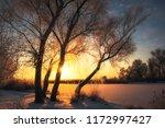 beautiful winter landscape. the ... | Shutterstock . vector #1172997427