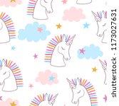 seamless rainbow unicorns... | Shutterstock .eps vector #1173027631