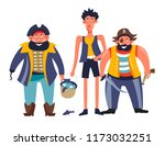 pirates people with man holding ... | Shutterstock .eps vector #1173032251