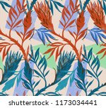 seamless floral pattern with... | Shutterstock . vector #1173034441