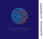 fingerprint scan logo icon dash ... | Shutterstock .eps vector #1173036994