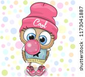 cute cartoon owl in a pink hat... | Shutterstock .eps vector #1173041887