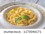 portion of fettuccine alfredo | Shutterstock . vector #1173046171