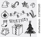 vector christmas and new year... | Shutterstock .eps vector #117305185