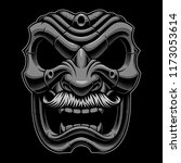samurai mask with mustahce on... | Shutterstock .eps vector #1173053614