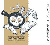 breakfast menu  vector sketch...   Shutterstock .eps vector #1173069181