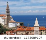 view of town piran in slovenian ... | Shutterstock . vector #1173089107