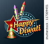 stylish happy diwali vector... | Shutterstock .eps vector #117309451