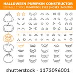 halloween pumpkin thin line... | Shutterstock .eps vector #1173096001
