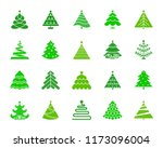 christmas tree silhouette icons ... | Shutterstock .eps vector #1173096004