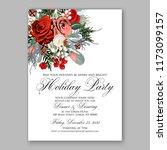 marsala dark red peony wedding... | Shutterstock .eps vector #1173099157