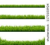 big set green grass borders...   Shutterstock .eps vector #1173103924