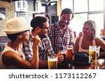 happy friends having fun at bar ... | Shutterstock . vector #1173112267