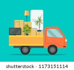 moving house. truck with... | Shutterstock .eps vector #1173151114