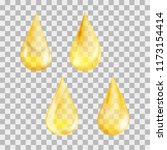 set of drops in yellow colors.... | Shutterstock .eps vector #1173154414